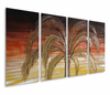 Palm Pleasures Hand-Painted Metal Wall Hanging Set of 4