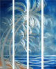 Palms in White Hand-Painted Metal Wall Art Set of 4