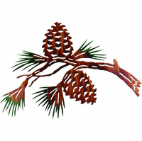 Pine Cone Branch Metal Wall Sculpture