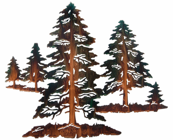 Pine Tree Forest Metal Wall Sculpture