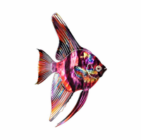 Rainbow Tropical Angel Fish Metal Wall Art