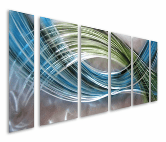 Refreshed by Color Abstract Six-Panel Aluminum Wall Art