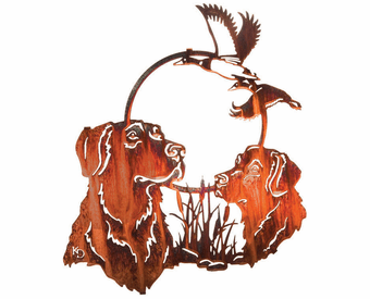 Retrievers and Mallards Metal Wall Art