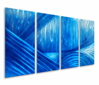 Sapphire Adoration Hand-Painted Aluminum Wall Hanging Set of 4