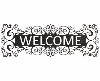 Scrolled Welcome Metal Wall Art Hanging Sign