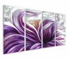 Sensual Hibiscus Hand-Painted Metal Wall Hanging Set of 4