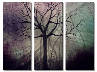 Shadowy Forest Tree Wall Art