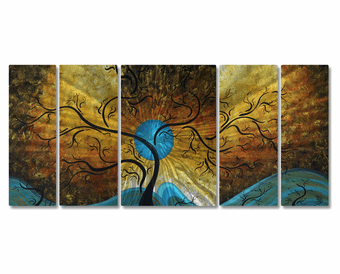 Shanghai Symphony 5-Panel Handmade Trees Metal Wall Art