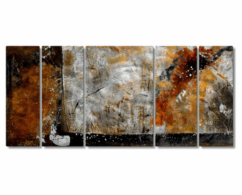 Simplicity of Texture Handcrafted Metal Wall Art Set of 5