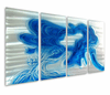 Singing the Blues Hand-Painted Aluminum Wall Art Set of 4