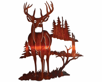 Solitude of the Buck Deer North Woods Metal Wall Hanging