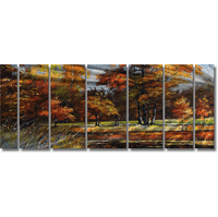 Spectacular Harvest 7-Panel Landscape Tree Metal Wall Art