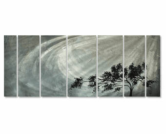 Starkness of the Storm 7-Panel Trees Handmade Metal Wall Art
