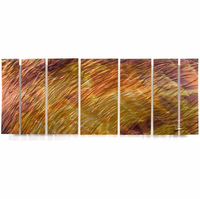 Steel Wheat Abstract Wall Sculpture Set of 7