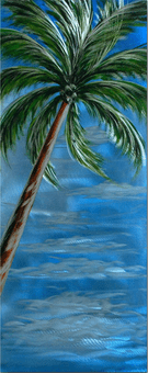 Swaying Palm Tree Handcrafted Metal Wall Art