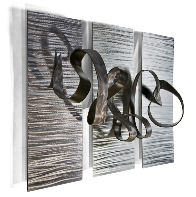 Swirling Metal Ribbon Abstract Wall Art Set Of 3 Zoom Click To Enlarge