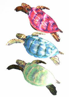 Trio of Sweet Sea Turtles Metal Wall Art