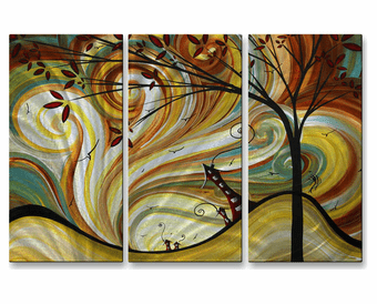 Tunnel Vision Abstract Trio of Handmade Metal Wall Art