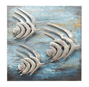 Underwater Motion 3D Hand-Painted Fish Metal Wall Art