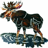 Wading Moose Metal Wall Art Sculpture
