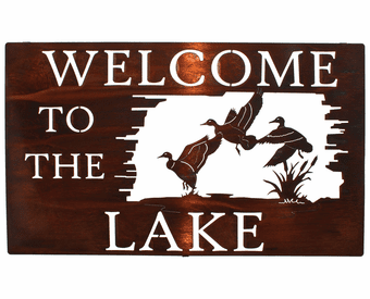Welcoming Geese Lakeside Welcome Metal Wall Art Hanging
