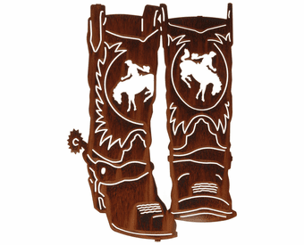 Western Cowboy Boots Metal Wall Sculpture