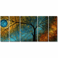 Wondrous Woods 5-Panel Trees Metal Wall Art