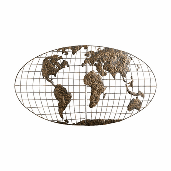 World View Hemisphere Metal Wall Hanging