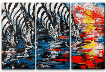Zebras at Water's Edge