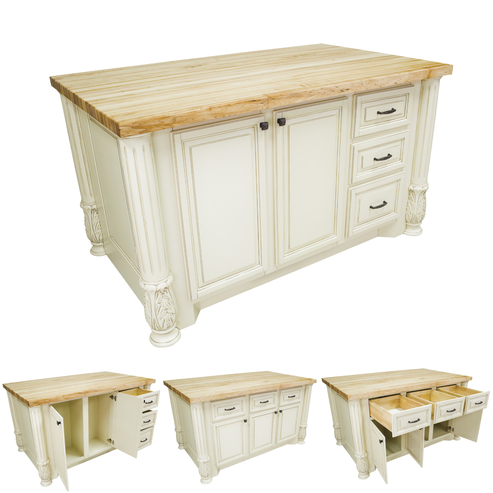 Antique White Kitchen Island With Smaller Drawers Isl05 Awh