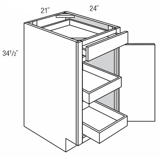 B21RT: Base Cabinet With Roll-Out Trays: Trenton Slab RTA Kitchen Cabinet
