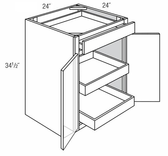 B24BRT: Base Cabinet With Roll-Out Trays: Trenton Slab RTA Kitchen Cabinet