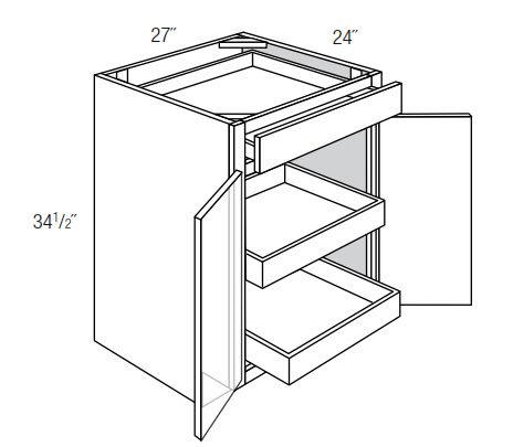 B27BSCRT: Base Cabinet With Soft Close Roll-Out Trays: Amesbury Brown RTA Kitchen Cabinet