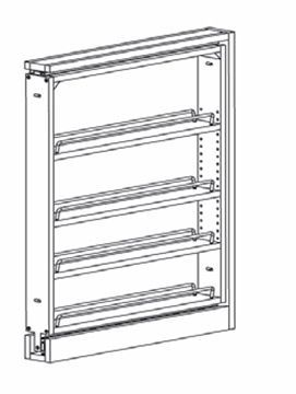 BF3PULL-SFTCLOSE: Base Filler Pull Out With Soft Close: Norwich Recessed RTA Kitchen Cabinet