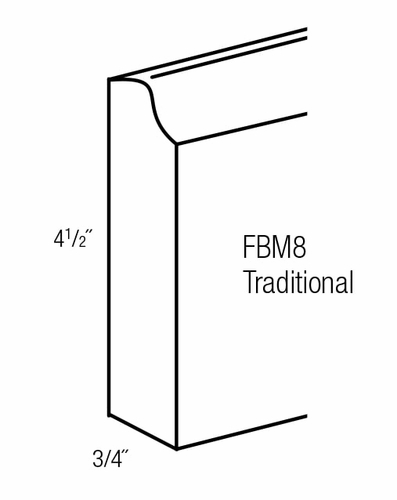 FBM8-T: Traditional Base Molding: Branford Recessed RTA Kitchen Cabinet