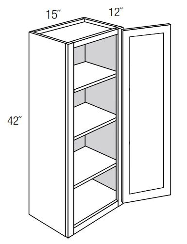 GW1542: Wall Cabinet With Glass Door: Norwich Recessed RTA Kitchen Cabinet
