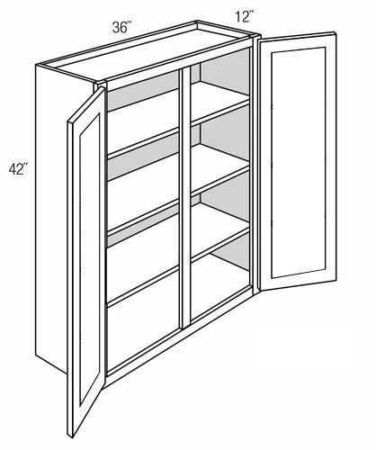 Gw3642 Wall Cabinet With Glass Doors Dover Castle Rta Kitchen Cabinet
