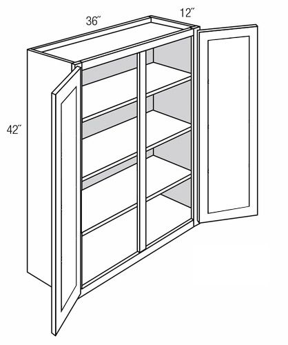 GW3642: Wall Cabinet With Glass Doors: Essex RTA Kitchen Cabinet