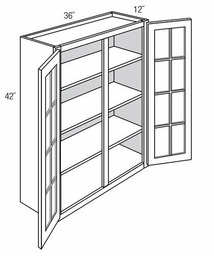 GW3642: Wall Cabinet With Mullion Glass Doors: Branford Slab RTA Kitchen Cabinet