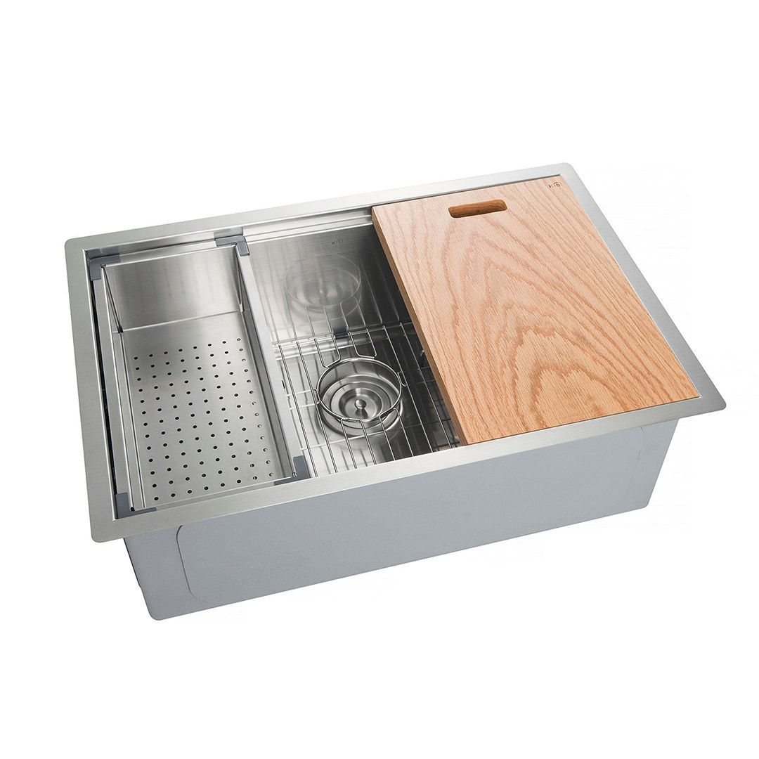 KIBI Undermount Single Bowl Stainless Steel Workstation Sink