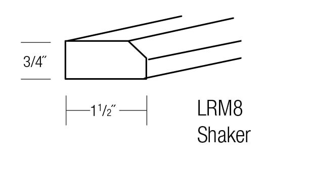 LRM8-S: Shaker Light Rail Molding: Amesbury Brown RTA Kitchen Cabinet