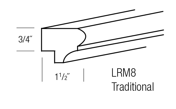 LRM8-T: Traditional Light Rail Molding: Yarmouth Raised RTA Kitchen Cabinet