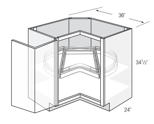 LS36DR-TOP: Square Corner Lazy Susan Base Cabinet: Norwich Recessed RTA Kitchen Cabinet