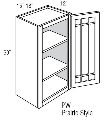 Prairie Style Kitchen Cabinets: PGW1530: Wall Cabinet With Prairie Style (Mullion) Glass