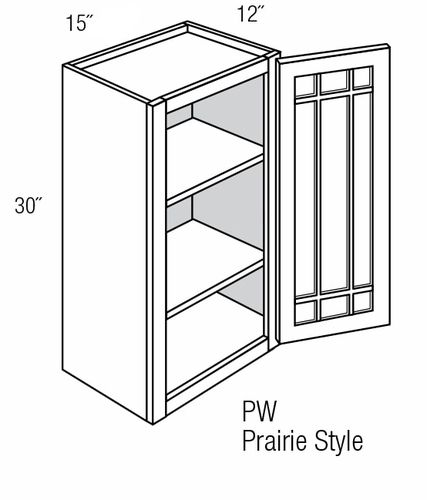 PGW1530: Wall Cabinet With Prairie Style (Mullion) Glass Door: Branford Slab RTA Kitchen Cabinet
