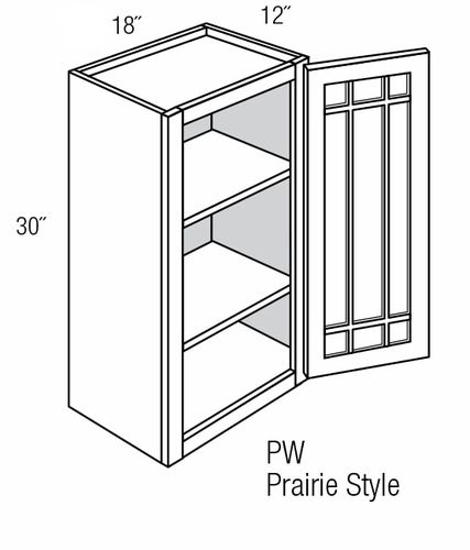 PGW1830: Wall Cabinet With Prairie Style (Mullion) Glass Door: Branford Slab RTA Kitchen Cabinet