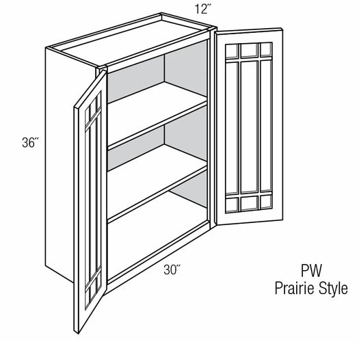 Pgw3036b Wall Cabinet With Prairie Style Mullion Glass Doors
