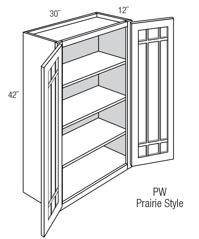 Prairie Style Kitchen Cabinets: PGW3042B: Wall Cabinet With Prairie Style (Mullion) Glass
