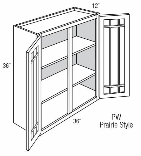 PGW3636: Wall Cabinet With Prairie Style (Mullion) Glass Doors: Branford Slab RTA Kitchen Cabinet