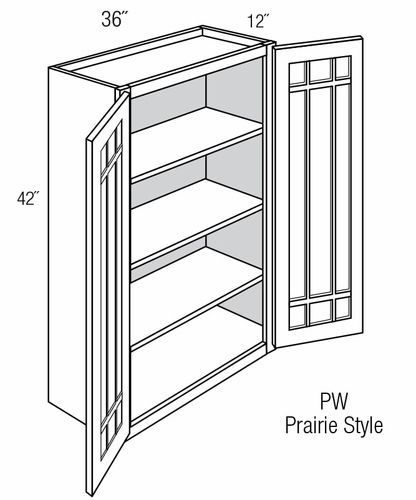 PGW3642: Wall Cabinet With Prairie Style (Mullion) Glass Doors: Branford Slab RTA Kitchen Cabinet